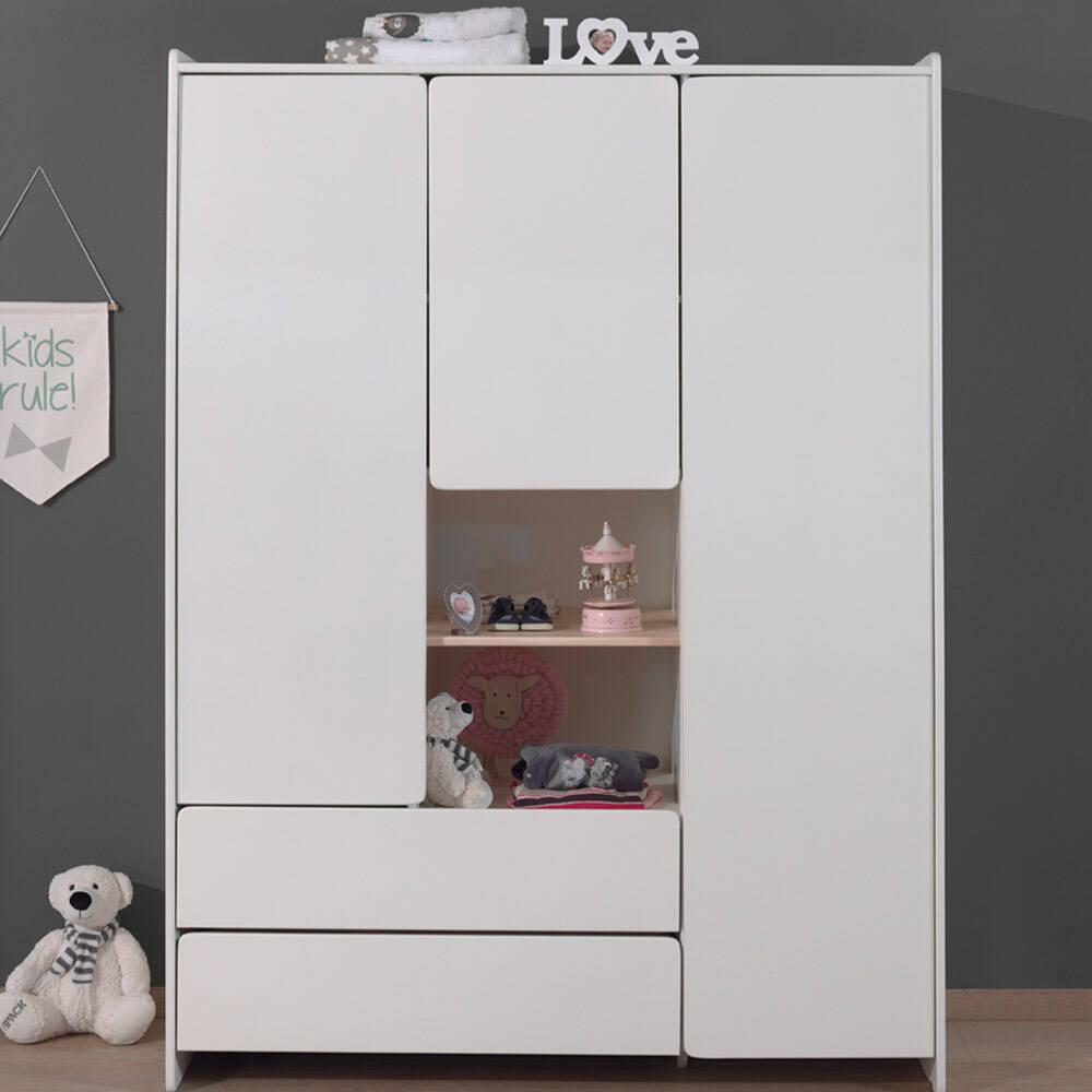 Kleiderschrank weiß 3-trg. SLIGO-12 Kinderzimmer Jugendzimmer Schrank - Stellmaß B/H/T: 133/190/55cm