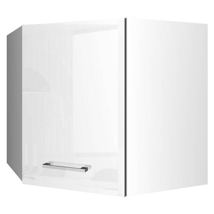 Eck Küchen Hängeschrank 60x60 MARANELLO 03 Weiß Hochglanz Breite 60 Cm