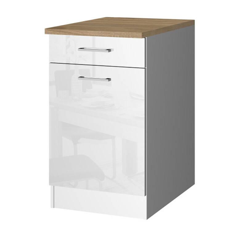 Küchen-Unterschrank 50 MARANELLO-03 Weiß Hochglanz Breite 50 cm