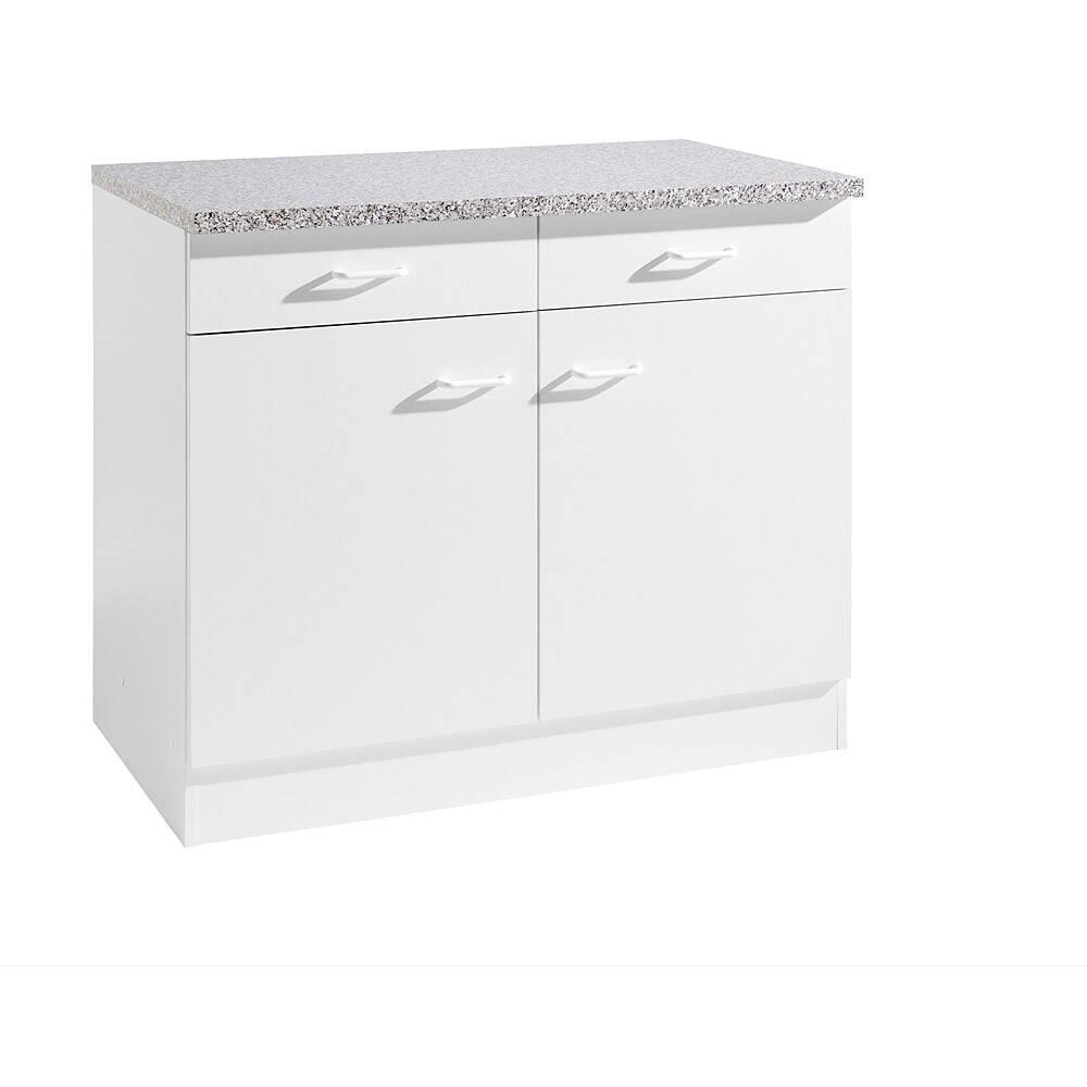 Küchen-Unterschrank 2-türig SALERNO-03 Weiß Breite 100 cm