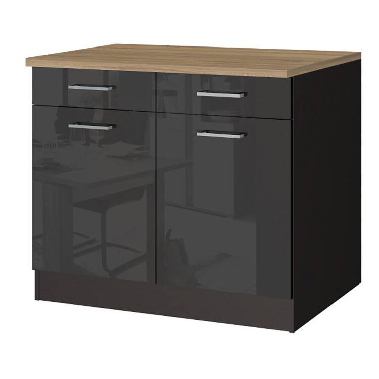 Küchen-Unterschrank 100 MARANELLO-03 Anthrazit Hochglanz Breite 100 cm
