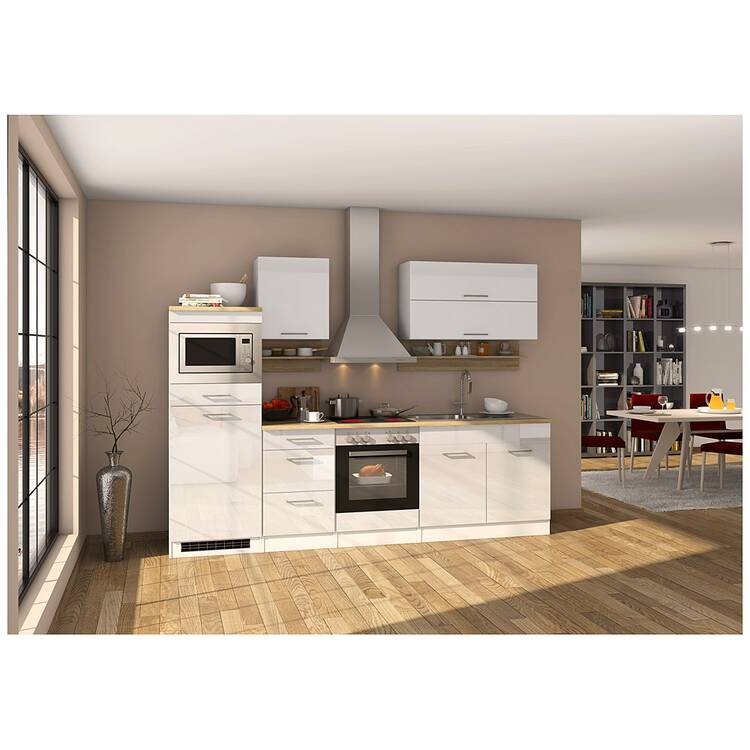 11% Küchenzeile 270 Cm Weiß, Inkl. E Geräte MARANELLO 03, Weiß Hochglanz