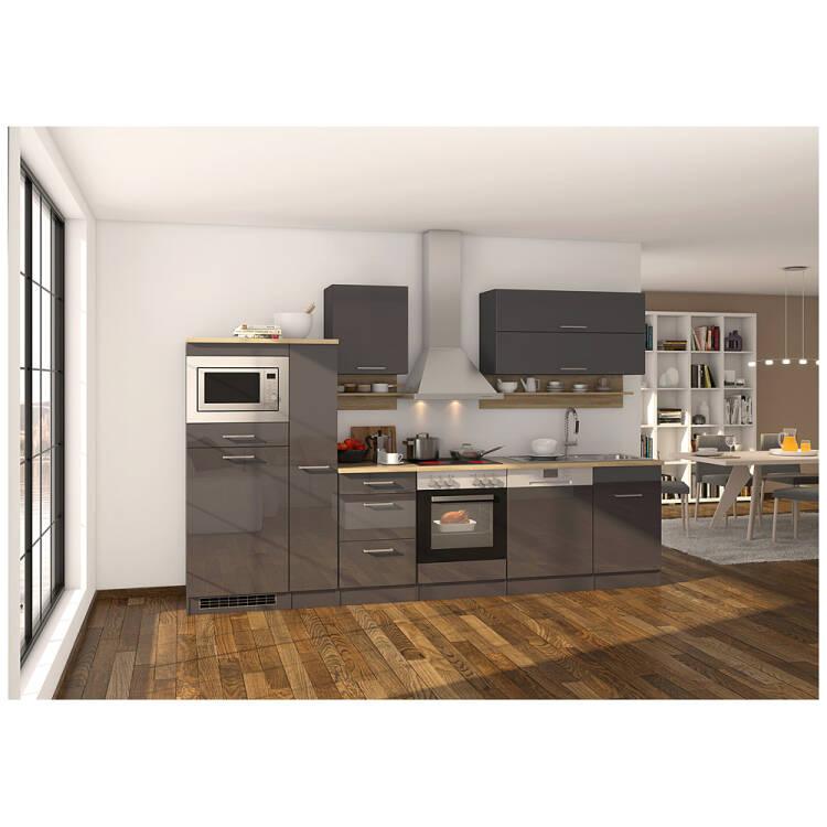 Küche grau 310 cm MARANELLO-03 inklusive E-Geräte, Anthrazit Hochglanz