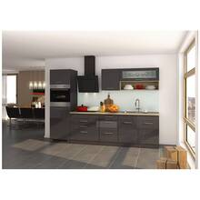 Kitchen unit 290 cm grey high gloss, incl. electric...