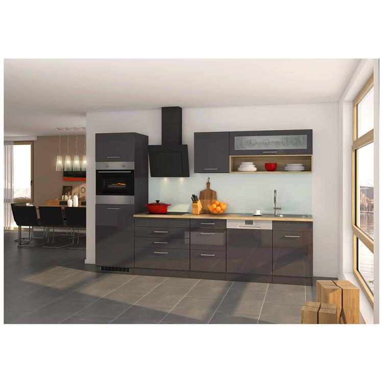 11% Küche Mit Geschirrspüler 300 Cm Grau MARANELLO 03 Inkl. E Geräte,  Anthrazit