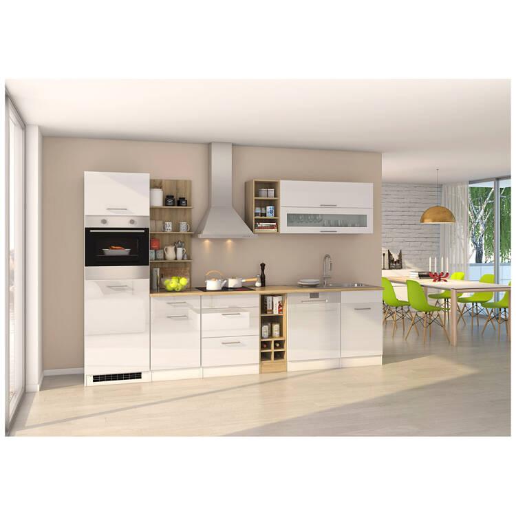 Küchenzeile weiß glänzend 310 cm MARANELLO-03 inkl. E-Geräte, Weiß Hoc