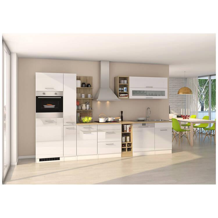 Komplett-Küche 340 cm weiß MARANELLO-03 inkl. E-Geräte, Weiß Hochglanz