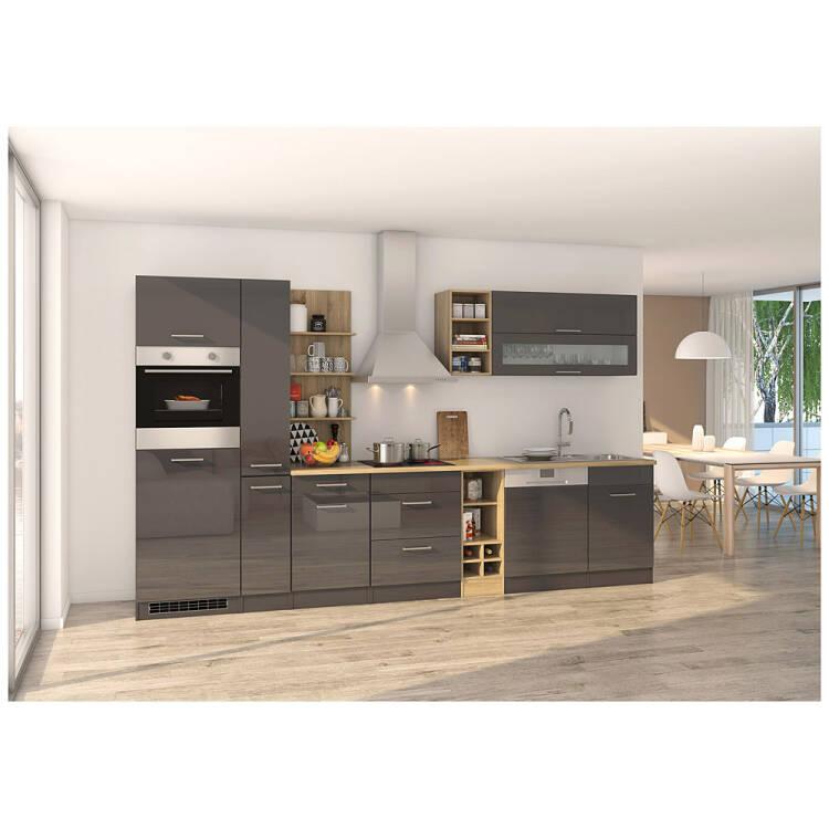 Entzuckend  13% Komplett Küche 340 Cm Grau MARANELLO 03 Inkl. E Geräte, Anthrazit