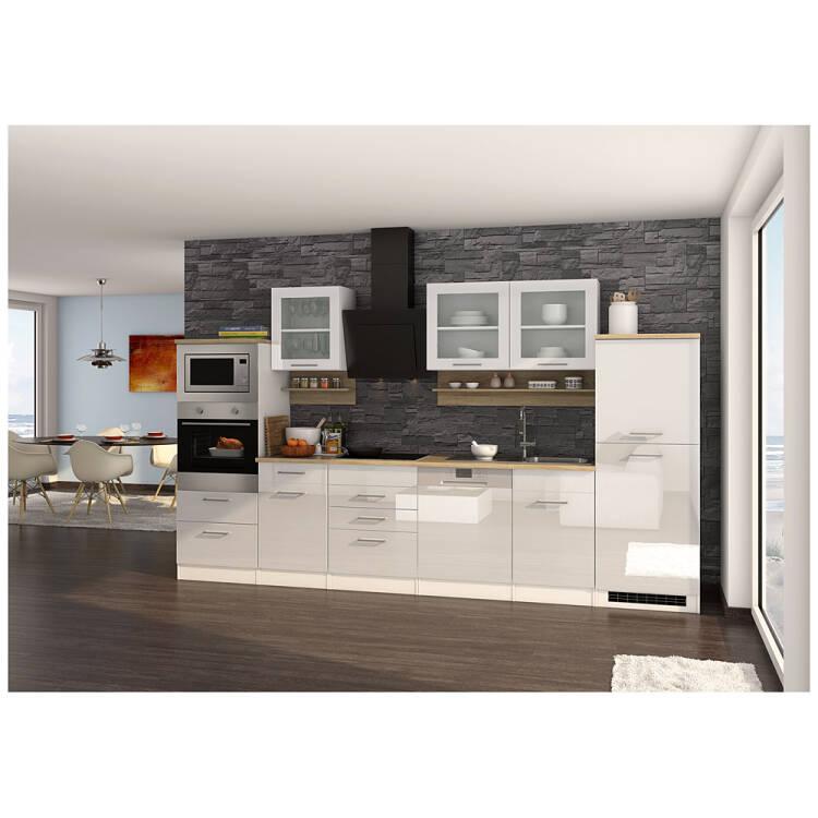 Küche inklusive E-Geräte, 340 cm weiß MARANELLO-03, Weiß Hochglanz, De