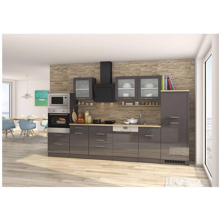13% Küche Inklusive E Geräte, 340 Cm Grau MARANELLO 03 Anthrazit Hochglanz,  Design