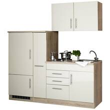 Single kitchenette with refrigerator, high gloss cream...