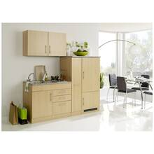 Single kitchen with refrigerator TERAMO-03 beech decor W...