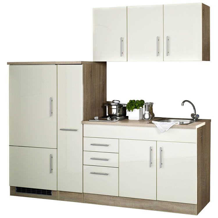 Elegant Single Küche 210 TERAMO 03 Hochglanz Creme Breite 210 Cm Inkl. Kühlschrank B