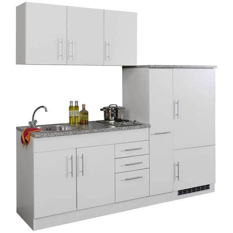 12% Single Küche 210 TERAMO 03 Weiß Breite 210 Cm Inkl. Kühlschrank B X