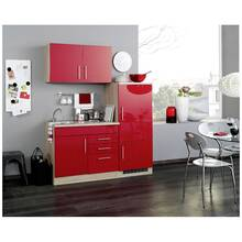 Single kitchen unit with refrigerator, high gloss red...