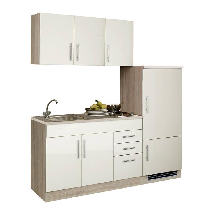 12% Single Küchenzeile Mit Kühlschrank 180 Cm TERAMO 03 Hochglanz  Creme/Eiche Sonoma