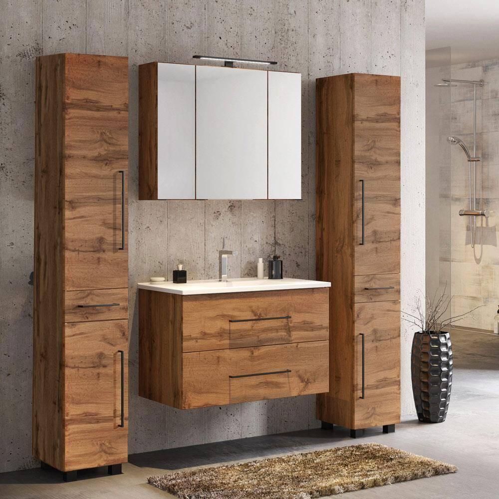 Badmöbel Set in Wotaneiche mit 80cm Waschtisch MANLY-03 LED-Spiegelschrank & 2 Hochschränke, BxHxT ca. 170x195x47cm