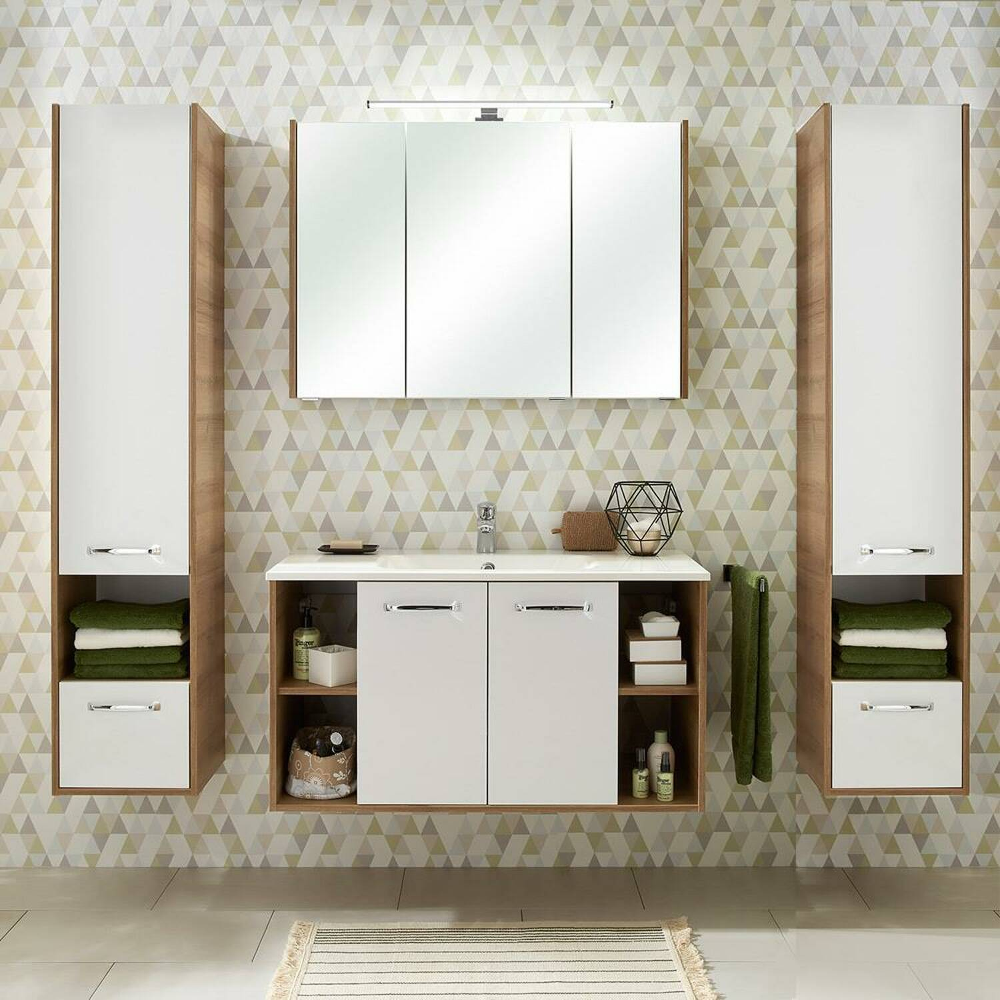 Badmöbel Set in Eiche Riviera mit weiß Glanz RAIPUR-66 Waschtisch 100cm und LED-Spiegelschrank B/H/T ca. 200/200/46cm