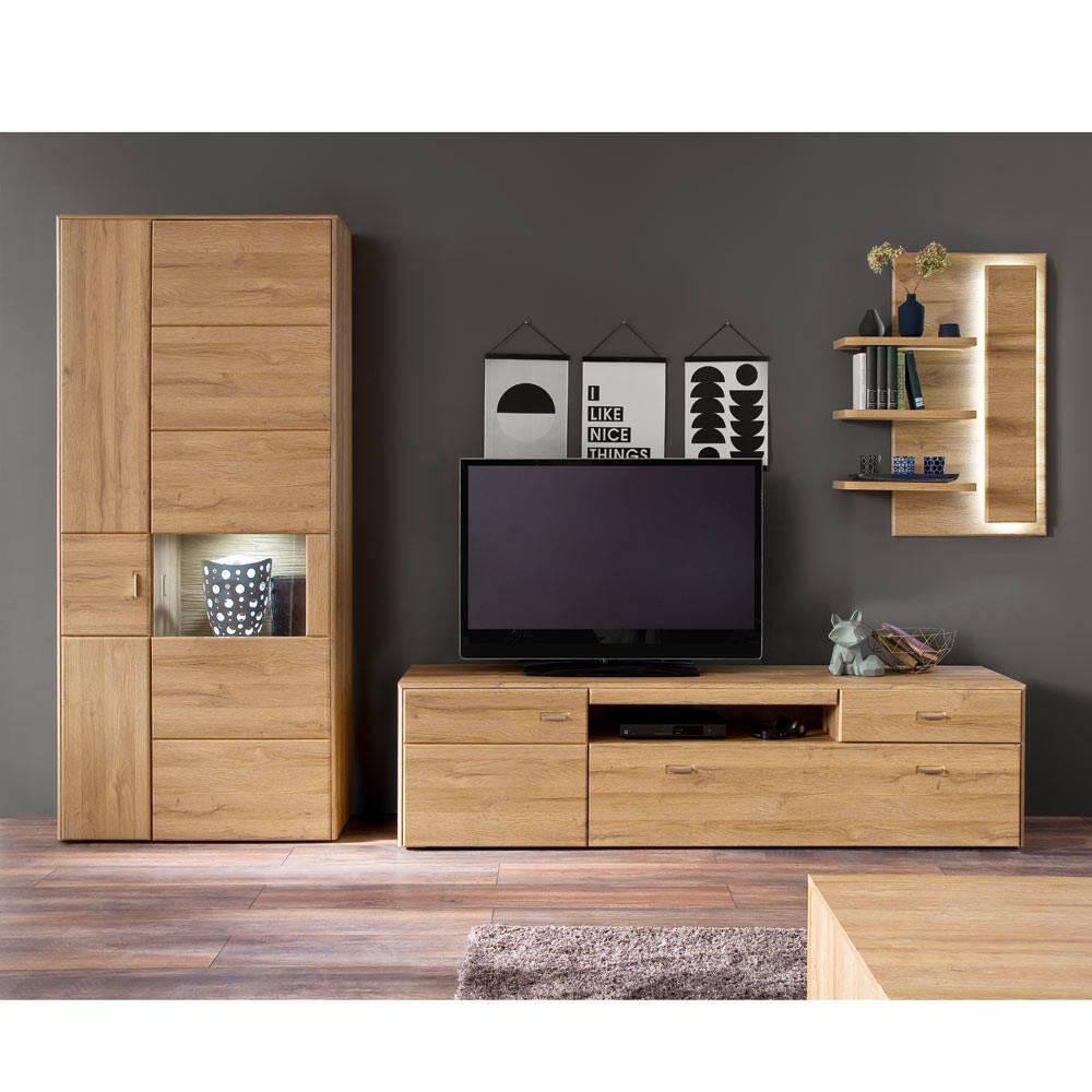 Wohnwand Wohnzimmer FERROL-05 TV-Möbel Set in Grandson Oak Nb., mit LED - B/H/T: 349/208/52cm