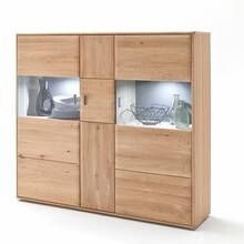 Highboard TIJUANA-05 aus massiver Eiche Bianco, optional...