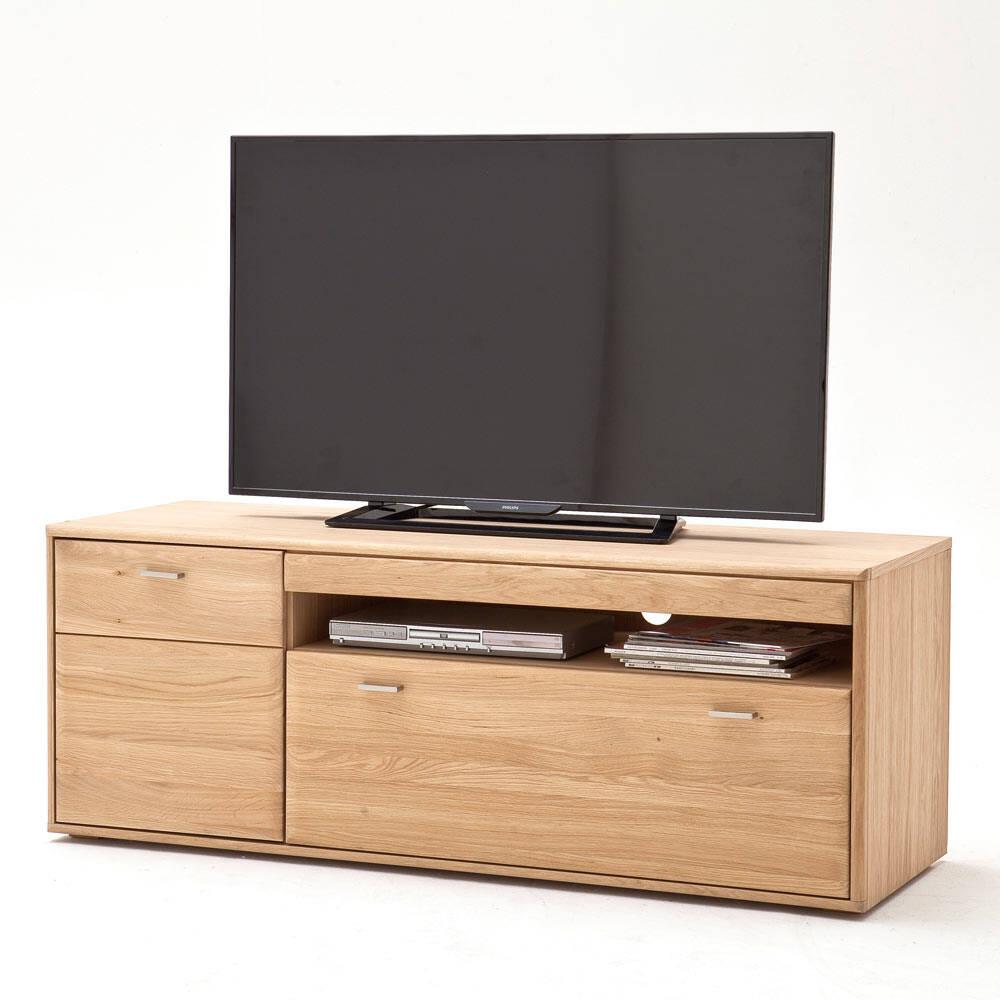 TV-Lowboard TIJUANA-05 Fernsehschrank aus massiver Eiche Bianco - B/H/T: 149/56/52cm
