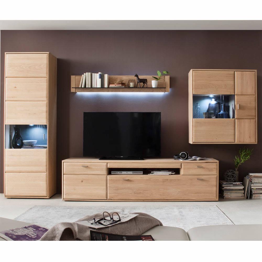Wohnwand Kombination TIJUANA-05 TV-Möbel aus massiver Eiche Bianco - B/H/T: 355/206/52cm