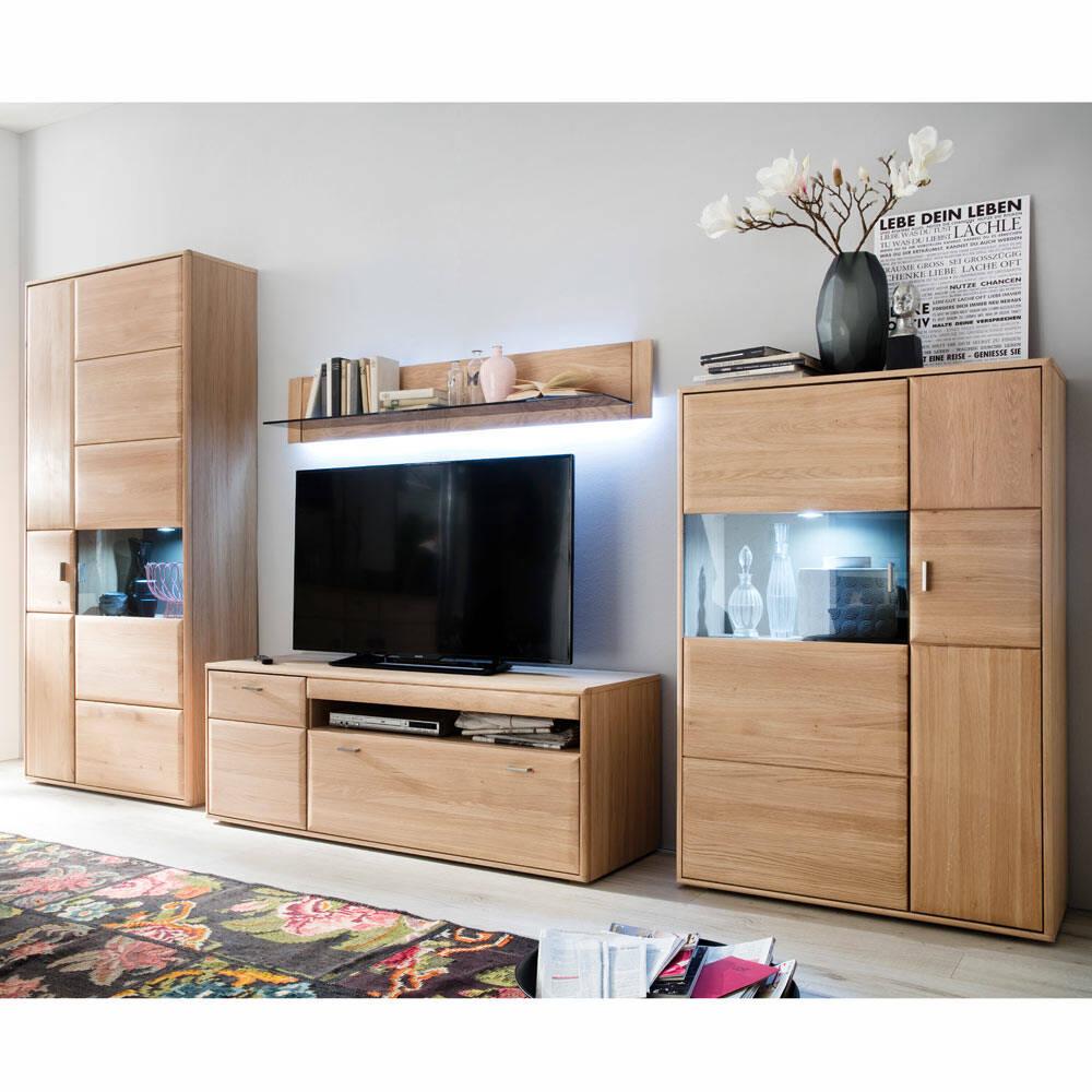 Wohnzimmer Möbel-Set TIJUANA-05 Wohnwand aus massiver Eiche Bianco - B/H/T: 367/206/52cm