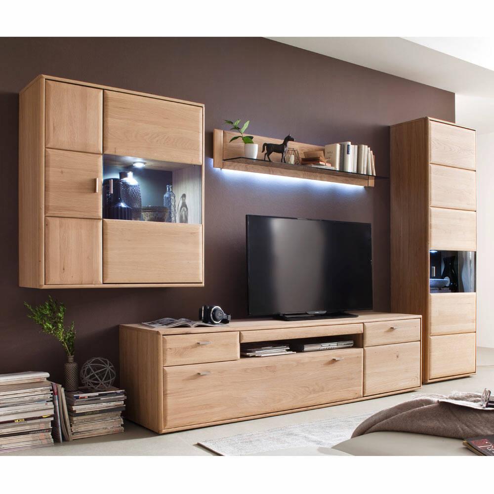 Wohnwand Wohnzimmer Set TIJUANA-05 aus massiver Eiche Bianco, mit Beleuchtung - B/H/T: 355/206/52cm