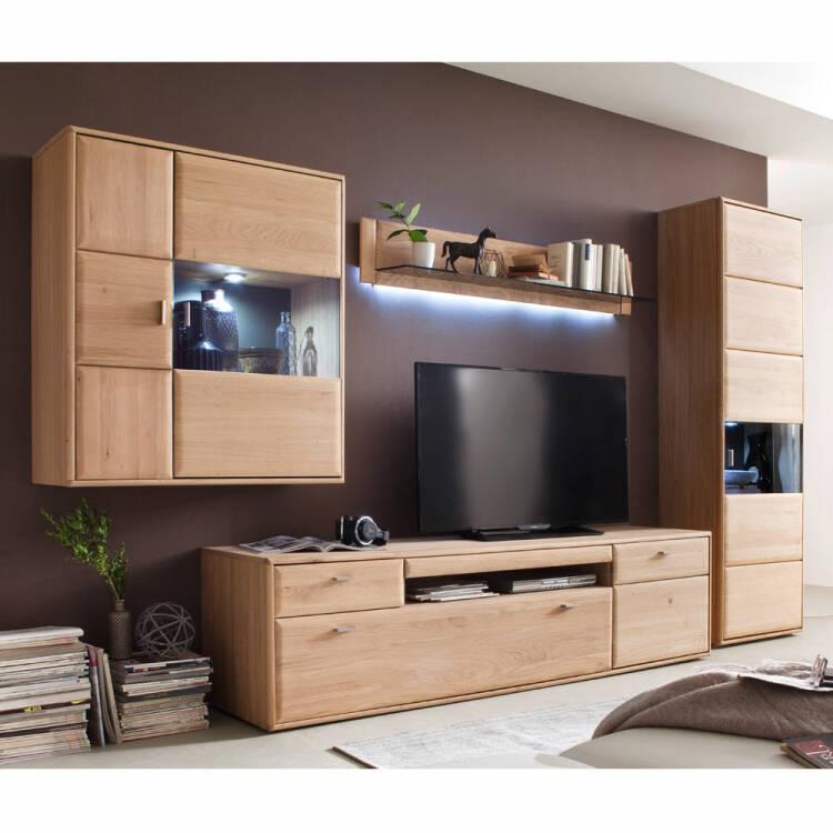 Wohnwand Wohnzimmer Set TIJUANA-05 TV-Möbel aus massiver Eiche Bianco