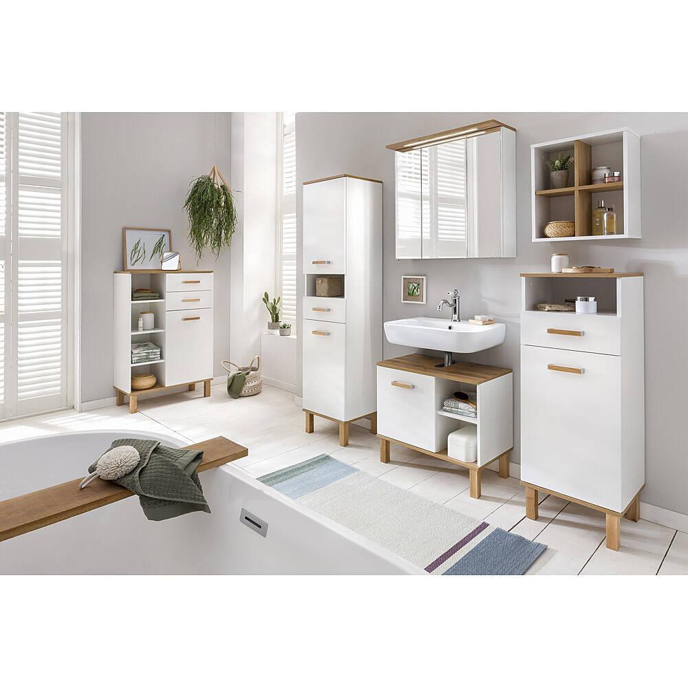 Badmöbel Set 6-teilig weiß, Eiche-Landhaus Nb. PASSAU-04 BxHxT ca. 273x200x35cm