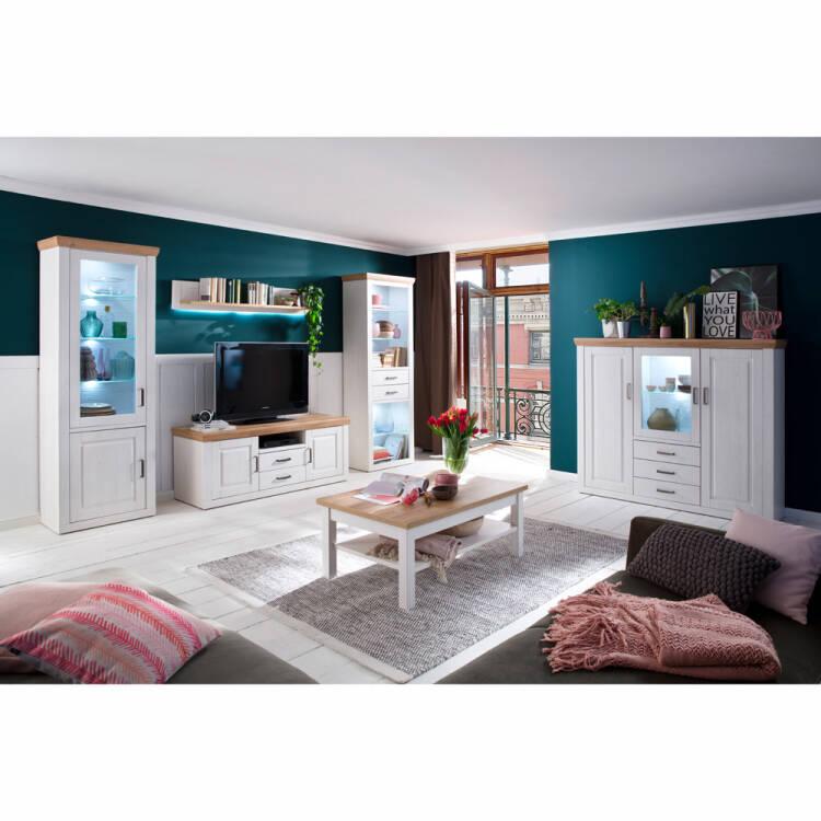 Wohnzimmer Möbel Serie BRASILIA-05 Landhausstil in Pinie Aurelio Nb. &  Grandson Oak Nb., Selbst zusammenstellen