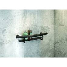 Black wall handle with shelf VITAL-30 for shower or bathtub