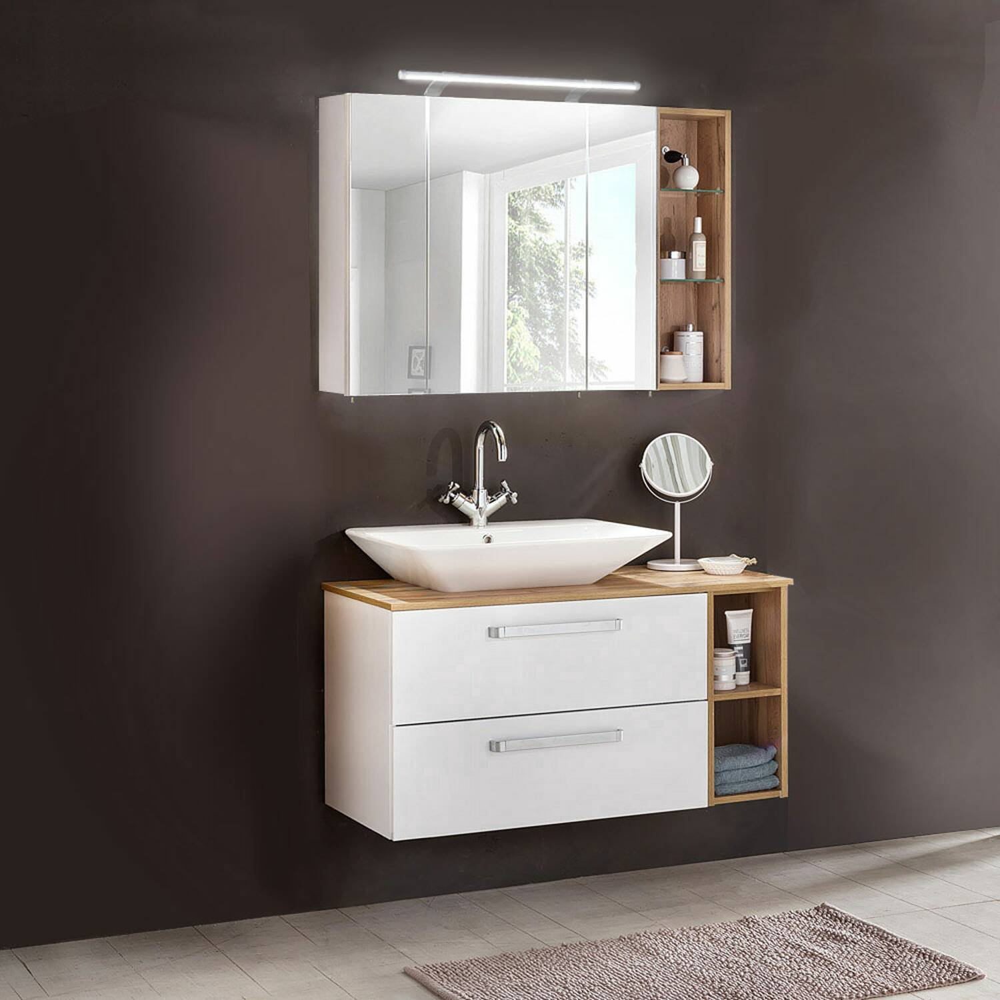 Badmöbel Set in Eiche-Landhaus/kreideweiß 3-teilig ARONA-04 BxHxT 102,3x200x45cm