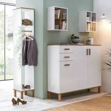 Corridor wardrobe set 4-piece white/oak country house...