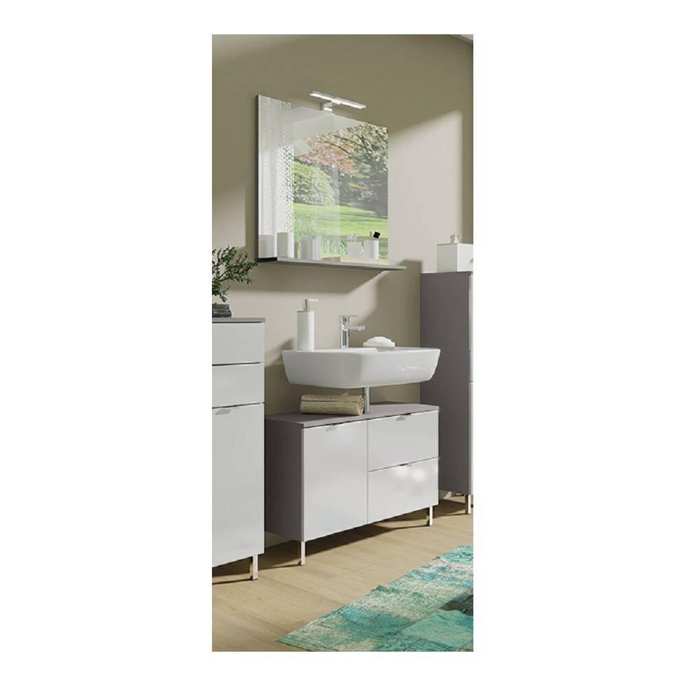 Badmöbel-Set MACUL-01 Waschbeckenunterschrank und Spiegel in Hochglanz weiß und Graphit - BxHxT ca. 80x200x34cm