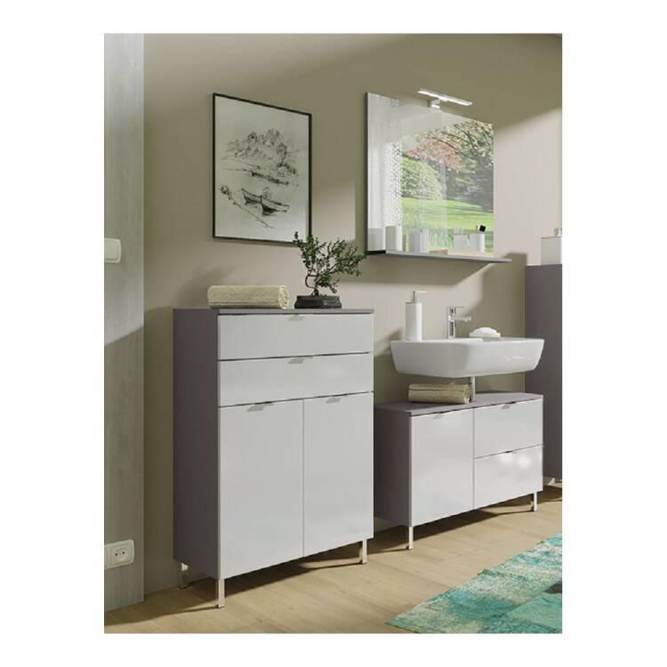 Badezimmer Waschplatz Macul 01 In Hochglanz Weiss Und Graphit Spiegel