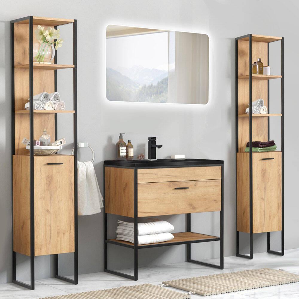 Badmöbel Set MANHATTAN-56 5-teilig in Industrie-DesignGold Craft Oak-Eiche B/H/T 190/185/46cm