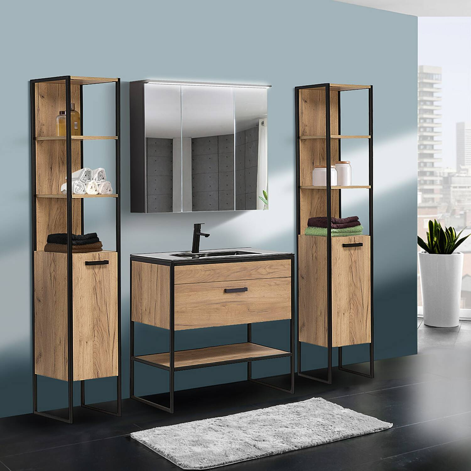 Badezimmer Set in Industrie-Design MANHATTAN-56 4-teilig Gold Craft Oak-Eiche B/H/T 135/185/46cm