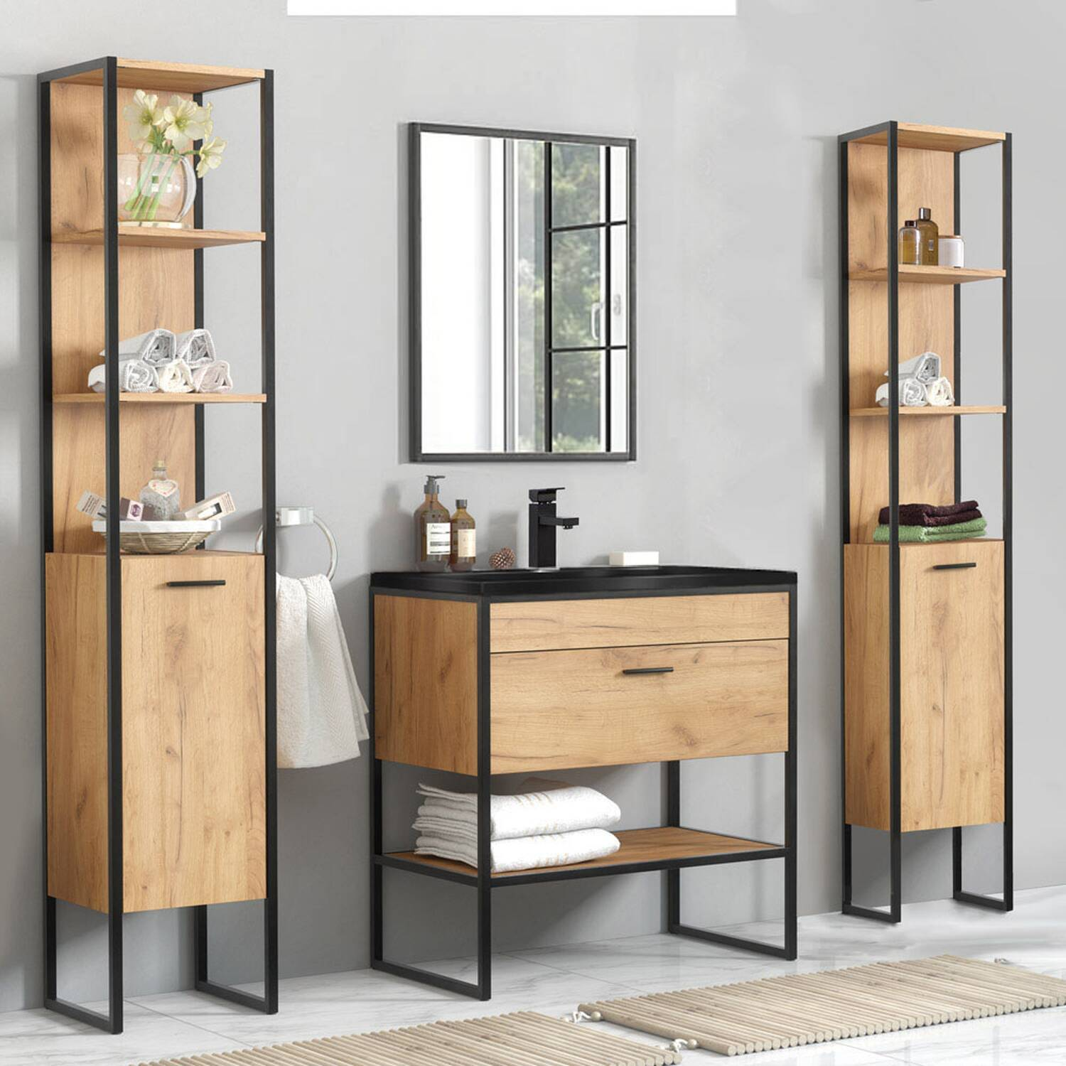Badmöbel Set in Industrie-Design MANHATTAN-56 5-teilig Gold Craft Oak-Eiche B/H/T 190/185/46cm