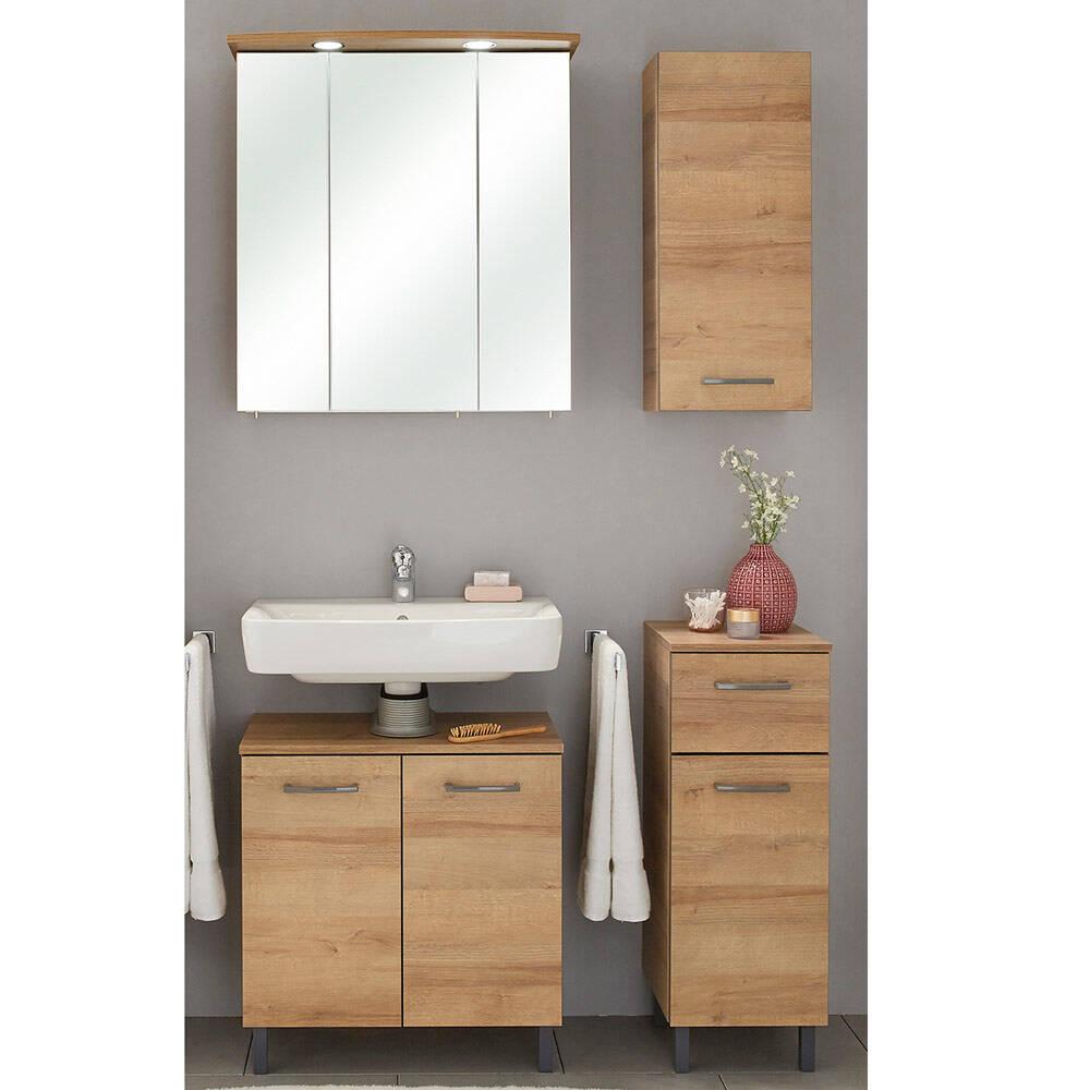 Badkombination 4-tlg. RECIFE-66 mit Spiegelschrank und Waschbecken-Unterschrank - B/H/T: 105/200/33cm