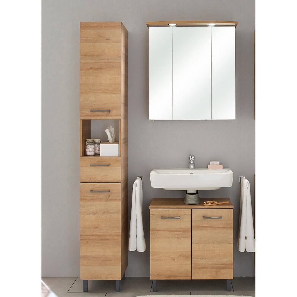 3-tlg. Badmöbel Kombi RECIFE-66 Spiegelschrank mit LED - B/H/T: 105/200/33cm