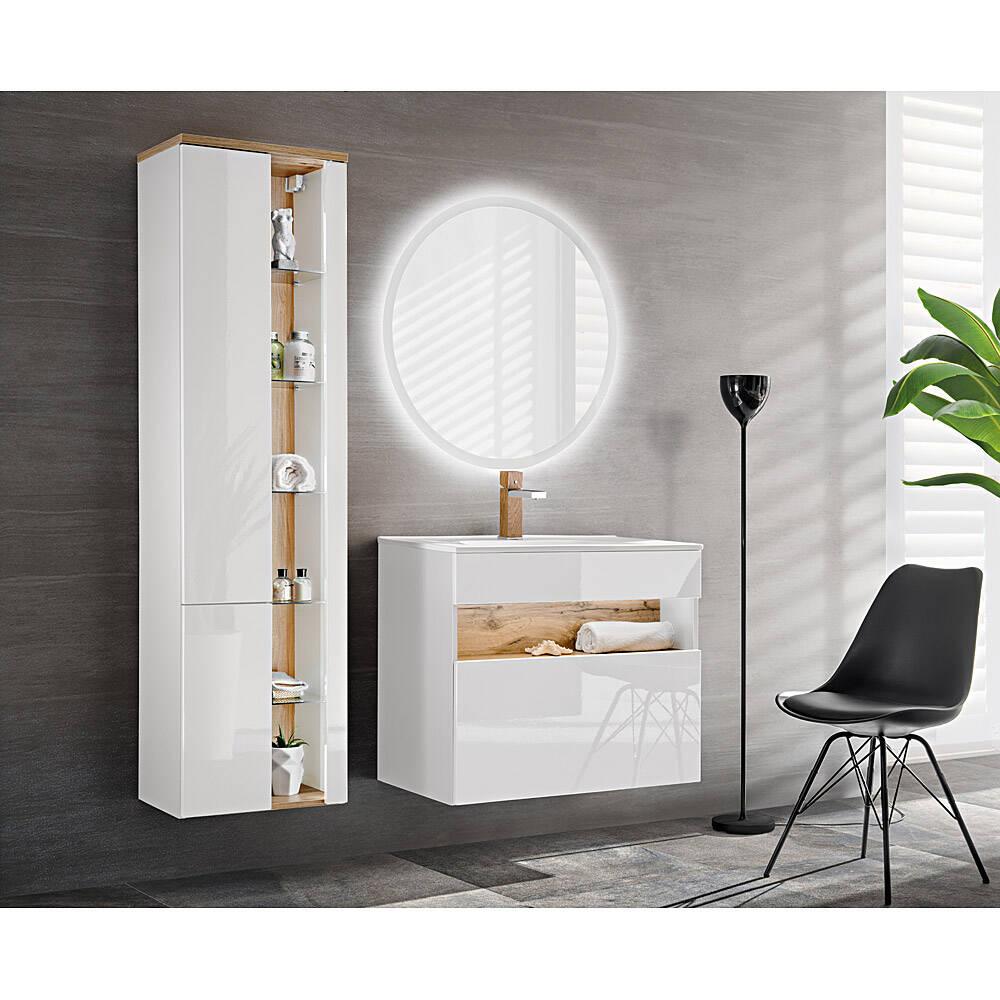 Badmöbel Set mit Keramik-Waschtisch inkl LED BERMUDA-56 in Weiß-Hochglanz mit Wotaneiche B/H/T: 145/190/45cm