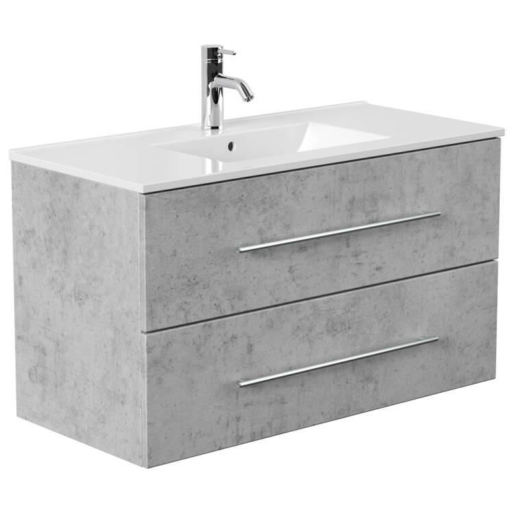Badezimmer Waschtisch In Beton Optik Abuja 02 Mit 100cm Keramik Wasch