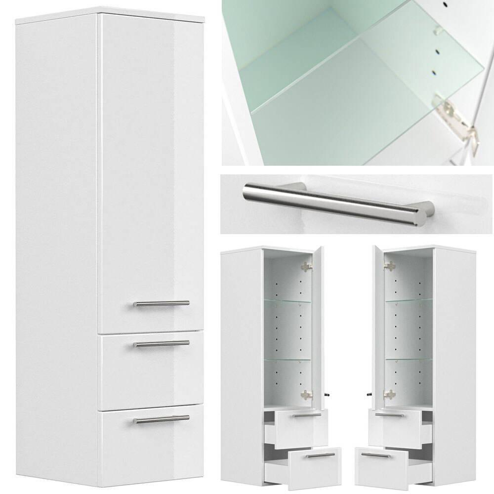 Badezimmer Midischrank Hochschrank weiß Hochglanz ABUJA-02 mit Glaseinlagen, B/H/T: 35/120/36cm