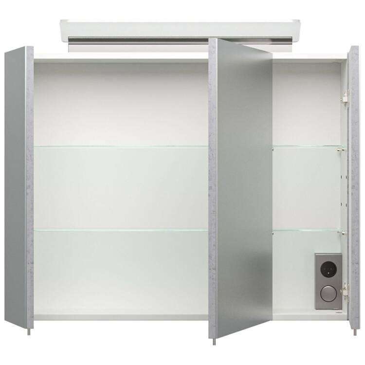 Badezimmer Spiegelschrank 80cm in Beton-Optik ABUJA-02 inkl.  LED-Acryllampe, B/H/T: 80/62/17cm