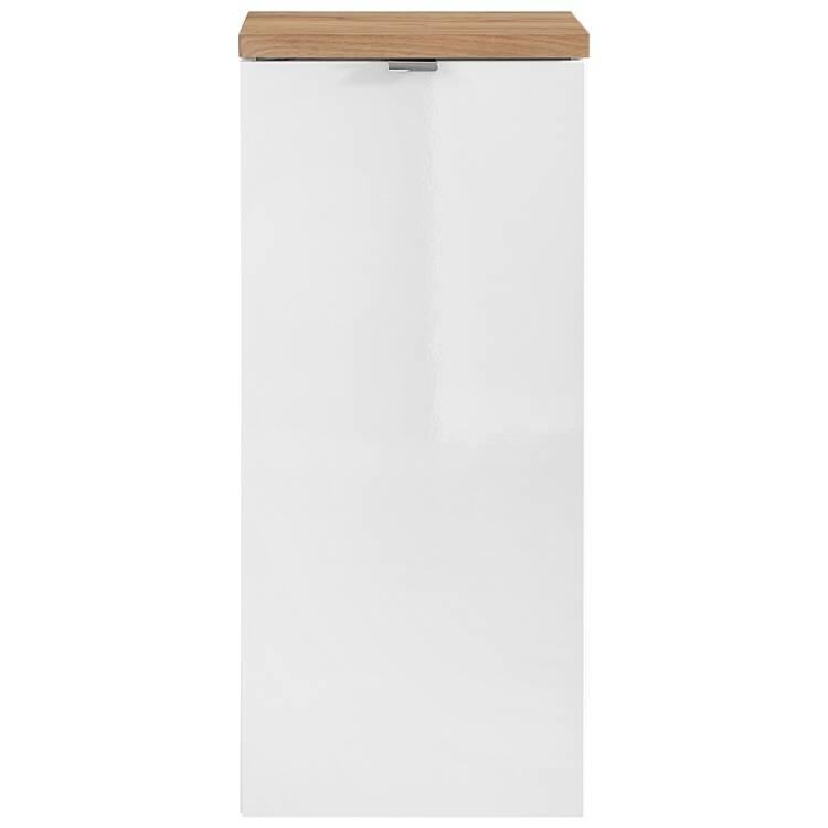 Badezimmer Unterschrank mit Wäschekorb TOSKANA-56 in Weiß-Hochglanz B/H/T  ca. 35/80/35cm