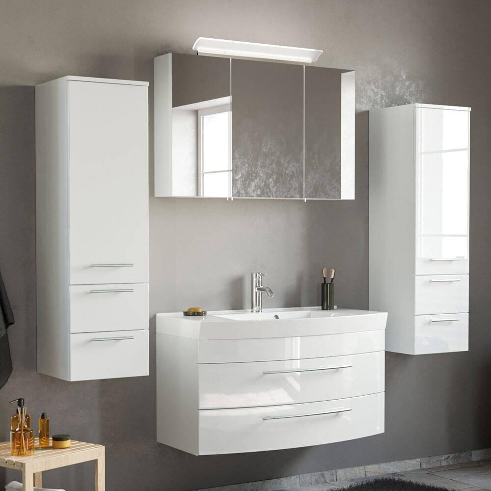 Badmöbel Set mit LED-Spiegelschrank & Mineralguss-Waschtisch MAPUTO-02 in weiß Hochglanz BxHxT ca. 201x200x50,2cm