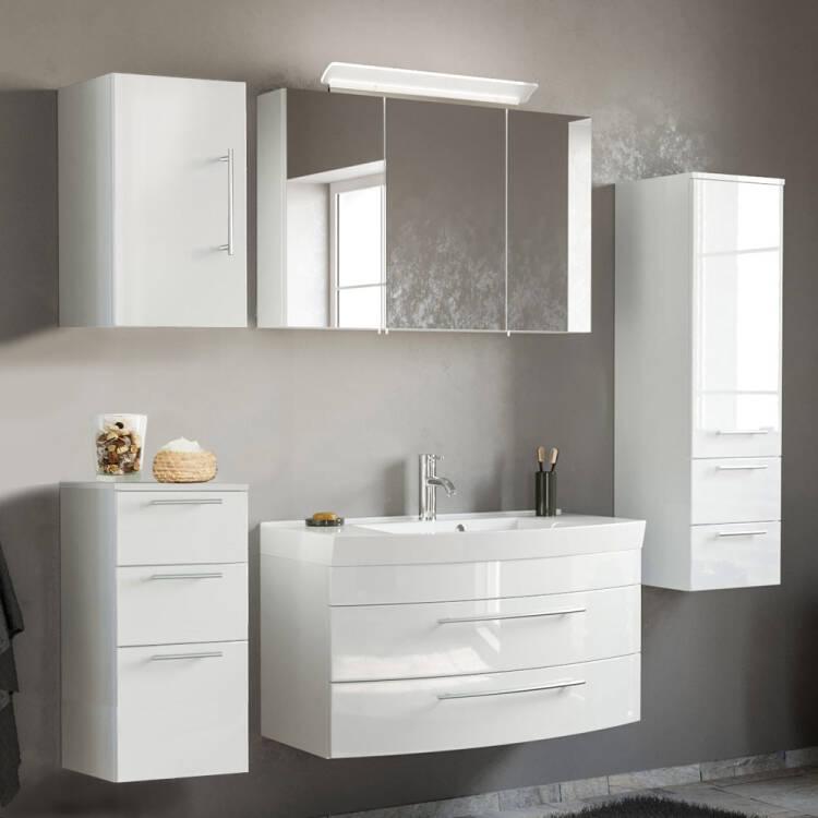 Badezimmermöbel Set in weiß Hochglanz mit 100cm Waschtisch und LED-Spi