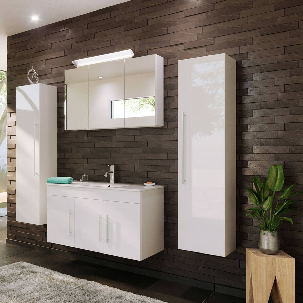 Badezimmer-Set mit 100cm Waschtisch TABRIS-02 - in Hochglanz weiß - B/H/T: 200/200/46cm