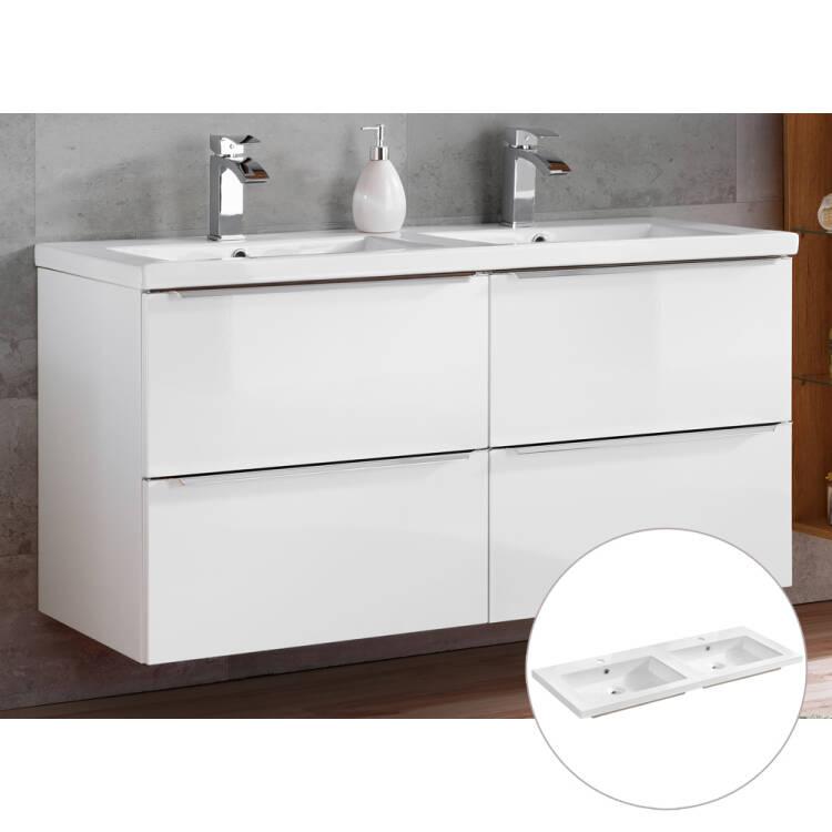 Badmöbel Waschtisch-Unterschrank inkl. Doppel-Keramik-Waschbecken TOSK